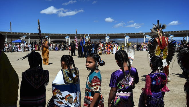 Dancers fill the arena during the Grand Entry at the 29th annual Numaga Indian Days Pow Wow in Hungry Valley north of Reno on Sept. 5, 2015.
