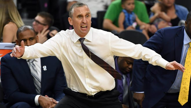 ASU head coach Bobby Hurley reacts during a first-round game of the Pac-12 Tournament against Stanford at T-Mobile Arena on March 8, 2017 in Las Vegas.