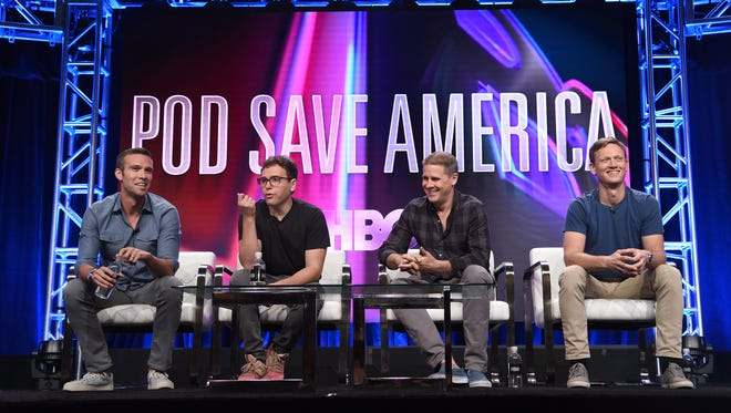 Jon Favreau, eft, Jon Lovett, Dan Pfeiffer and Tommy Vietor participate in HBO's 'Pod Save America' panel at Television Critics Association summer press tour in Beverly Hills, Calif.