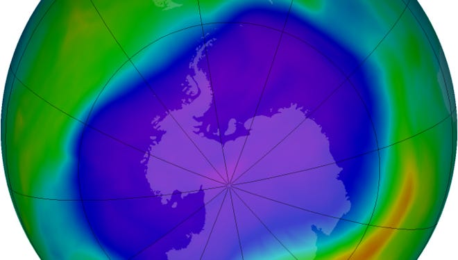 Satellites have observed a surprisingly large ozone hole over Antarctica, despite a 1987 global agreement that regulated chlorofluorocarbons. The cause is unknown. Purple and blue represent areas of low ozone concentrations in the atmosphere.