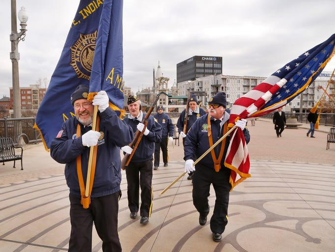 Members of American Legion Post 11 Honor Guard assemble