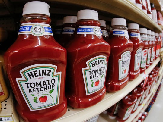 This file photo from February 21, 2018 shows a display of Heinz Ketchup being exhibited on a market in Pittsburgh.