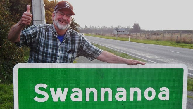 No, not Swannanoa, NC, but Swannanoa, New Zealand is where Black Mountain resident Monroe Gilmour is giving the thumbs up.
