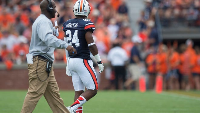 Auburn Tigers defensive back Blake Countess (24) is walked off the field after being ejected for targeting during the first half of the NCAA Auburn vs. Jacksonville State on Saturday, Sept. 12, 2015, in at Jordan-Hare Stadium in Auburn, Ala.Albert Cesare / Advertiser