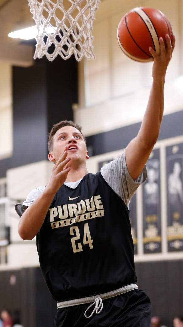 Junior forward Grady Eifert with a layup during Purdue