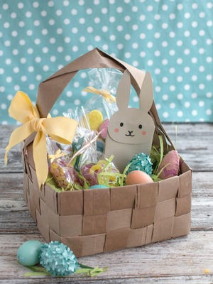 This upcycled do-it-yourself Easter basket is made from four brown paper grocery bags, cut into strips and woven together. Fresh takes on Easter baskets for kids include a heavy dose of do-it-yourself ingenuity.