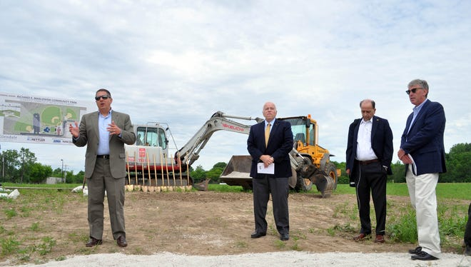 Glendale officials break ground on Richard E. Maslowski Community Park in June 2016. Pictured from left are Glendale Mayor Bryan Kennedy, Alderman Richard Wiese, former City Administrator Richard Maslowski and Nicolet School District Superintendent Robert Kobylski.