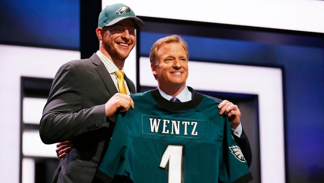 Carson Wentz of North Dakota State with NFL commissioner Roger Goodell after being selected by the Philadelphia Eagles with the No. 2 pick of the draft.