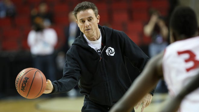 U of L head coach Rick Pitino conducts practice at the KeyArena in Seattle ahead of their matchup with UC Irvine in the second round of the NCAA tournament. March 19, 2015