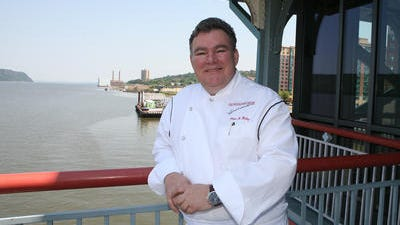 Celebrity chef Peter Kelly outside his Yonkers waterfront restaurant, X20 Xaviars on the Hudson