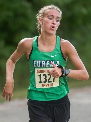 Eureka's Anna Perry runs to victory in a cross country meet Wednesday, Sept. 3, 2020 at Black Partridge Park in Metamora. Sperry, the 2019 Journal Star Girls Cross Country Runner of the Year, won the race in a time of 18:12.73. Perry also won the Dunlap Invitational title Sept. 19, 2020 at Dunlap Valley Middle School in 17:39.5.