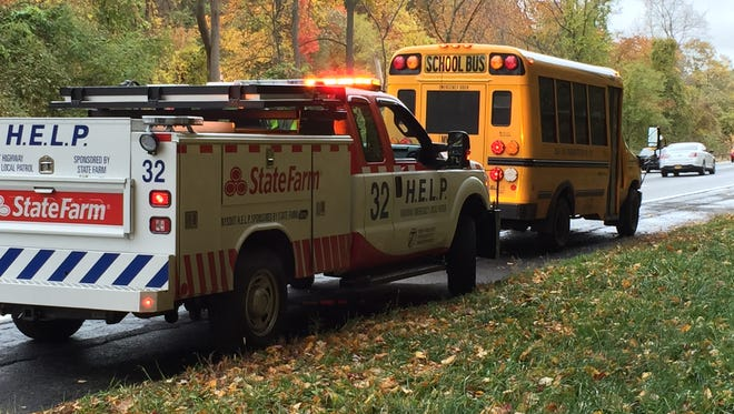 School bus that was involved in a collision with minor injuries on the Sprain Brook Parkway, Oct. 28, 2015.