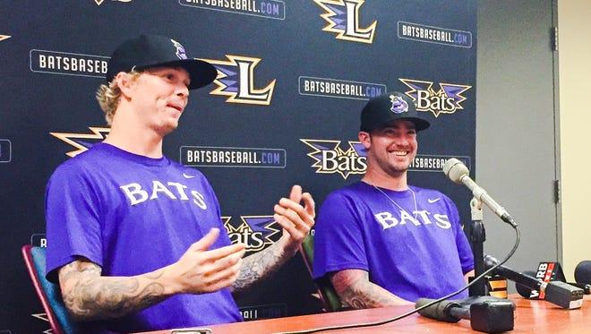 New Bats pitchers John Lamb, left, and Brandon Finnegan were introduced Tuesday.