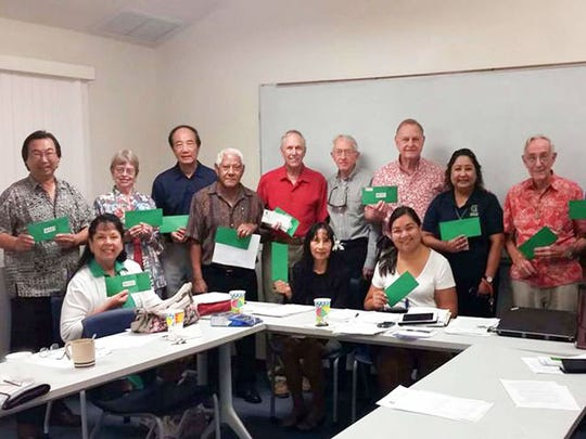 Officers and Members of the UOG Society of Emeritus Professors and Retired Scholars pledged or made donations to the SEPRS Scholarship Fund at their quarterly meeting held Dec. 12. UOG Endowment Foundation Executive Director Melanie Mendiola accepted the green envelopes (the G for Giving Initiative) after the group photo was taken at the Emeritus Hall on the UOG campus. Pictured from Left: SEPRS Vice Chair Hiro Kurashina, SEPRS Secretary Cynthia Sajnovsky, Professor Emerita Rebecca Stephenson, Professor Emeritus Chin-Tian Lee, President Emeritus Wilfred Leon Guerrero, Professor Emeritus and Past Chair Robert Sajnovsky, Professor Emerita Lourdes Klitzkie,  Professor Emeritus Donald Shuster, SEPRS Chair Lawrence Kasperbauer, UOG Endowment Foundation Executive Director Melanie Mendiola, UOG Career Development Officer Sallie McDonald, Professor Emeritus Richard  Randall, SEPRS Past Chair and Professor Emeritus Randy Workman, and Professional and International Programs Executive Director Carlos Taitano.