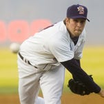 Collin McHugh, pictured throwing a pitch in the Binghamton Mets' home opener at NYSEG Stadium in 2012, went 19-7 for the Houston Astros in 2015.