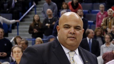 Connecticut athletic director Warde Manuel attends a women's basketball game in 2013.