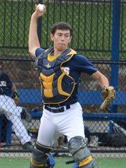 Eastern Christian catcher Anthony Segreto throwing