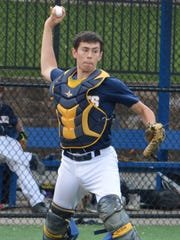 Eastern Christian catcher Anthony Segreto throwing