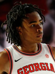 FILE - In this Feb. 9, 2019, file photo, Georgia forward Nicolas Claxton (33) is shown during an NCAA college basketball game against Mississippi in Athens, Ga. The Georgia sophomore is a first-round NBA Draft prospect who thrived last season. (Joshua L. Jones/Athens Banner-Herald via AP, File)