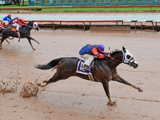 First Fancy Racy qualified for the All American Derby on Sunday in the trials for the race at Ruidoso Downs Race Track and Casino.
