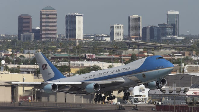 Air Force One takes off for Las Vegas on Aug. 23, 2017, at Phoenix Sky Harbor International Airport in Phoenix, the morning after President Donald Trump's Arizona rally.