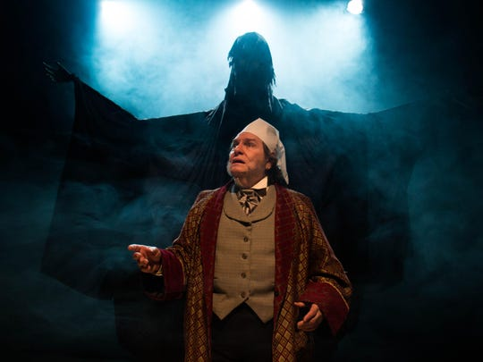 """David Spencer as Scrooge in New Stage Theatre's """"A Christmas Carol."""""""