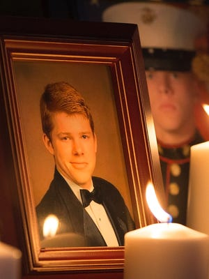 Friends and family of U.S. Marine and Cypress Lake High School graduate Thomas Jardas held a vigil for Thomas at Cypress Lake High School in Fort Myers on Thursday. Thomas is one of 12 Marines missing after a helicopter crash off the coast of Hawaii during night training exercises on Jan. 14.