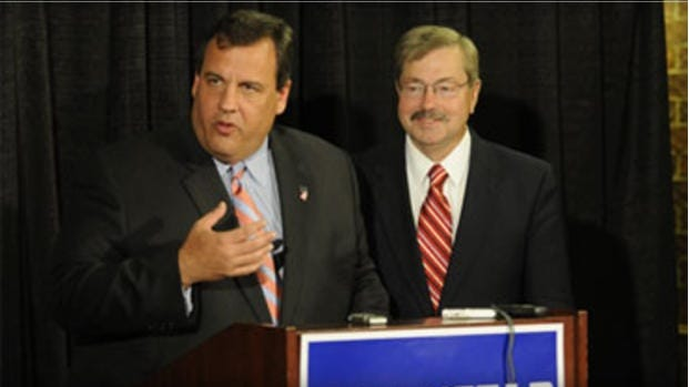 Gov. Chris Christie campaigns with Iowa Gov. Terry Branstad in October 2010 in West Des Moines, Iowa. (Associated Press photo)