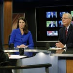 "U.S. Senate Minority Leader Mitch McConnell of Kentucky, right, and his Democratic Senate opponent, Kentucky Secretary of State Alison Lundergan Grimes, rehearse Oct. 13, 2014, with host Bill Goodman before their appearance on ""Kentucky Tonight"" television broadcast live from KET studios in Lexington, Ky."