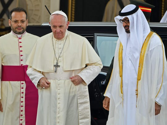 Pope Francis, who was welcomed by Abu Dhabi's Crown Prince Sheikh Mohammed bin Zayed al-Nahyan, right, upon his arrival to the presidential palace in the United Arab Emirates earlier this month. The pope has summoned more than 100 cardinals for a summit on sexual abuse.