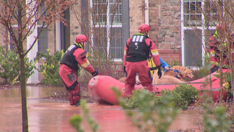 Three families were evacuated - including pets - after