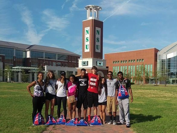 Intensity Track Club members enjoy the atmosphere at Norfolk State University, where the AAU Junior Olympics took place.