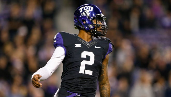 TCU Horned Frogs quarterback Trevone Boykin (2) during the game against the West Virginia Mountaineers at Amon G. Carter Stadium.