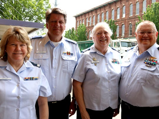 U.S. Coast Guard Auxiliary members Paula Boeckman, from left, her husband Paul Boeckman, Cheryl Lundine and her husband Kurt Lundine were out promoting recreational boating safety.