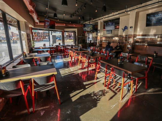 The interior of Basement Burger Bar is seen on Tuesday,
