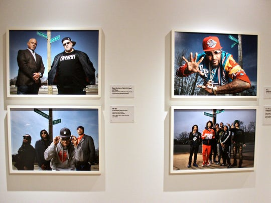 "A collection of Detroit hip-hop photos in the exhibit ""D-Cyphered: Portraits by Jenny Risher."""