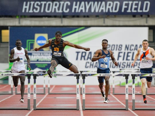 Rai Benjamin running NCAA-record 47.02 400-meter hurdles, tying Edwin Moses' best time.