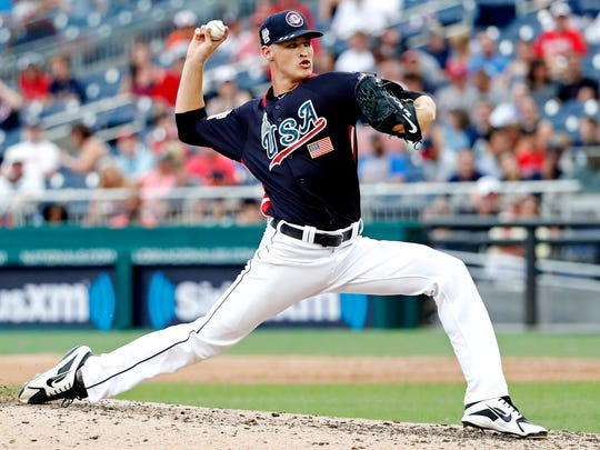 USA pitcher Matt Manning pitches in the fifth inning