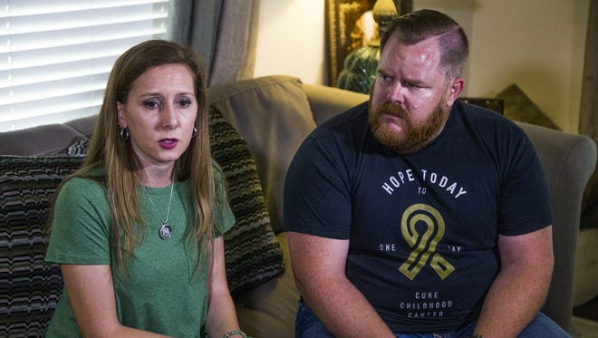Shawnee Doherty, left, and her husband, Shane, talk about losing their 7-year-old son, Hollis, to brain cancer while in their Phoenix home on Friday, April 7, 2017.