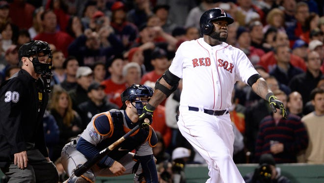 David Ortiz hit a grand slam in the 8th inning to tie the game 5-5.