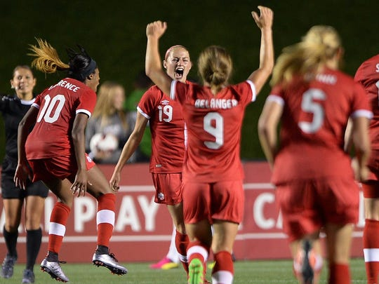 Canada's Janine Beckie (19) celebrates her goal against Brazil during the second half of an international women's friendly soccer match in Ottawa, Ontario, on Tuesday, June 7, 2016.