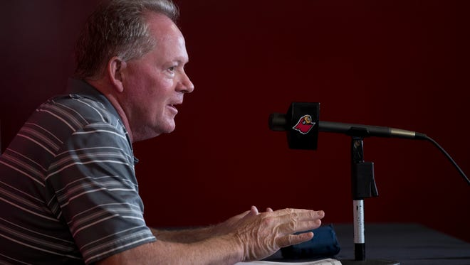 U of L head coach Bobby Petrino addresses media during a press conference Tuesday. June 13, 2018