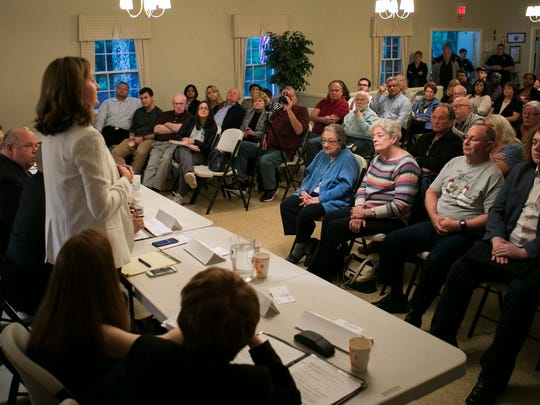 Council candidate Emily Peterson addresses the audience. Parsippany mayoral and council candidates, both Democrats and Republicans, discuss their qualifications and platforms as well as take questions from the audience at the Puddingstone Community Club, Parsippany, Tuesday, May 23, 2017.