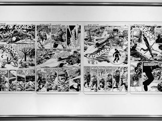 "You can almost hear the ratatatat coming from this four-page spread from ""Sgt. Rock Annual"" No. 3, penciled and inked by Dan Spiegle in 1983. Charles David Viera's collection spans original comic book art published from 1950s through the early 1990s. Original comic book art collecting didn't start in earnest until the 1970s. Before then, the art work was often thrown in the trash once the comic was printed."