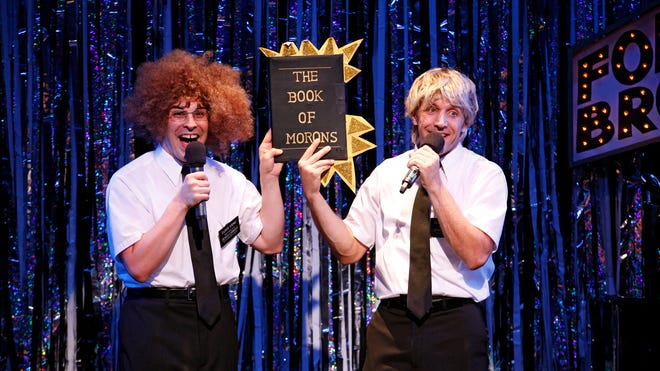 """Marcus Stevens, left, and Scott Richard Foster are shown parodying the musical """"The Book of Mormons,"""" in Gerard Alessandrini's """"Forbidden Broadway Comes Out Swinging."""""""
