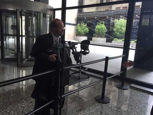 Ron Elberger, the attorney for former Subway spokesman Jared Fogle, speaks to reporters after a hearing on Fogle's appeal before the 7th U.S. Circuit Court of Appeals in Chicago on Friday, May 20, 2016.