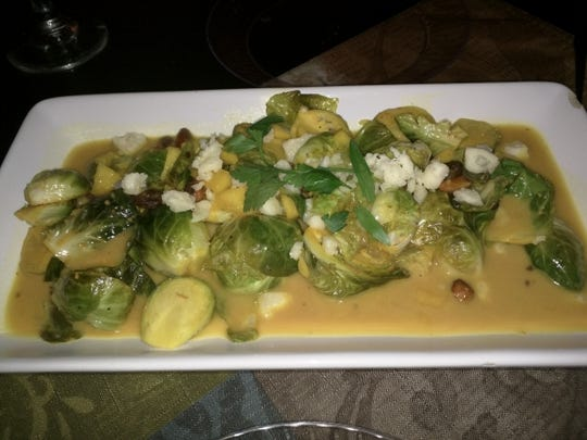 CC's Place's Brussels sprouts were dressed up with pistachios, bits of apple, Havarti cheese and a delicious sweet sauce.