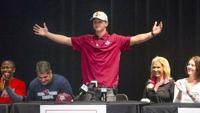 Brock Purdy announces that he will attend Iowa State University to play football.  The announcement came during a press conference at Perry High School in Gilbert, February 7, 2018.