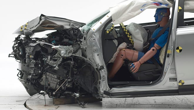 The structure of the 2015 Toyota RAV4 held up well in the driver-side small overlap crash test.