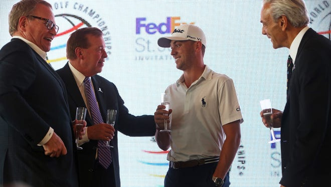 April 12, 2018 - (Left to right) - Jack Sammons, Youth Programs, Inc., David Bronczek, president and chief operating officer, FedEx, Justin Thomas, 2017 FedExCup champion, and Richard Shadyac Jr., president and CEO, ALSAC/St. Jude, converse following a toast at a PGA Tour press conference at Shelby Farms Park on Thursday. The PGA announced it's bringing the World Golf Championships to Memphis in 2019.